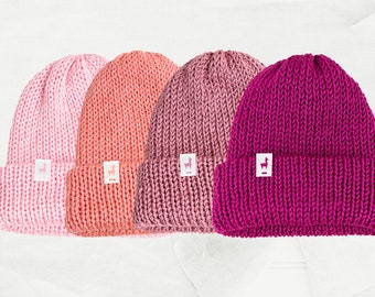 Pink Knitted Beanies, Handmade Unisex Knitted Slouchy Beanie, Winter Essential & Fashion Gifts