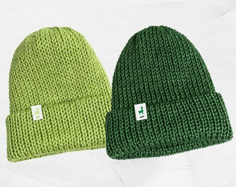 Green Knitted Beanies, Handmade Unisex Knitted Slouchy Beanie, Winter Essential & Fashion Gifts