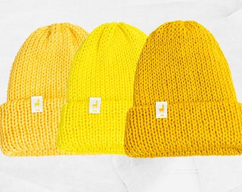 Yellow Knitted Beanies, Handmade Unisex Knitted Slouchy Beanie, Winter Essential & Fashion Gifts