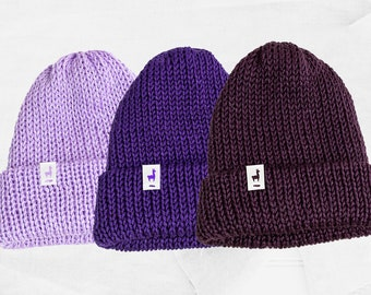 Purple Knitted Beanies, Handmade Unisex Knitted Slouchy Beanie, Winter Essential & Fashion Gifts