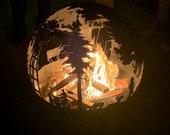Decorative Fire Pit- Farmhouse - Star Wars - Death Star -Metal - Steel - Outdoor - Backyard  - Plasma Cut Outdoor Art - Wood Burner - BBQ