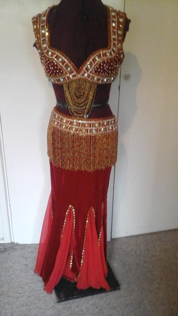 Stunning Red Velvet Designer Belly Dance Costume