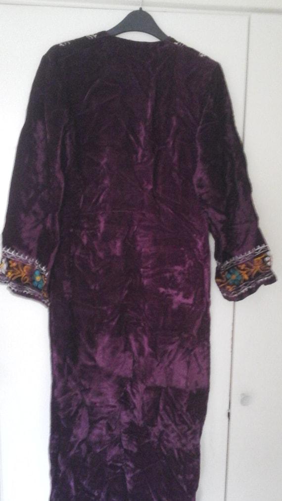 Vintage Crushed Velvet Authentic Handmade 60s Gustav Klimt Psychadellic Style Gold Maroon Zip Back Dress