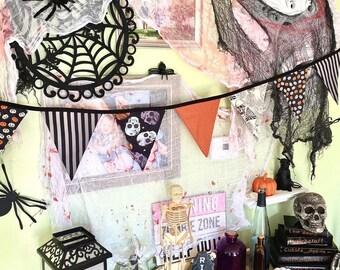 Halloween Bunting Banner, halloween garland, fabric bunting, halloween bunting,