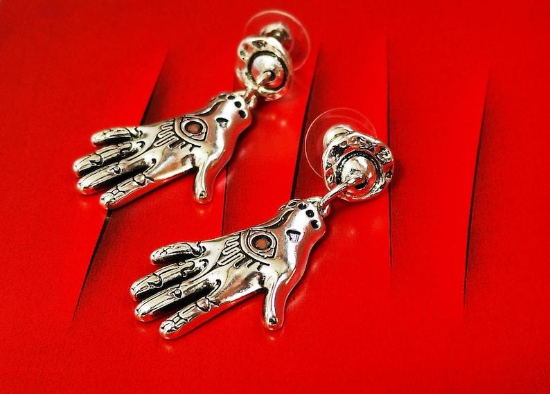 Silver Stud Hamsa Mystical Jewellery Symbol Tarot Astrology Jewelry Protection Charm Hamsa Earrings Hand of Fatima Magic Hand Necklace