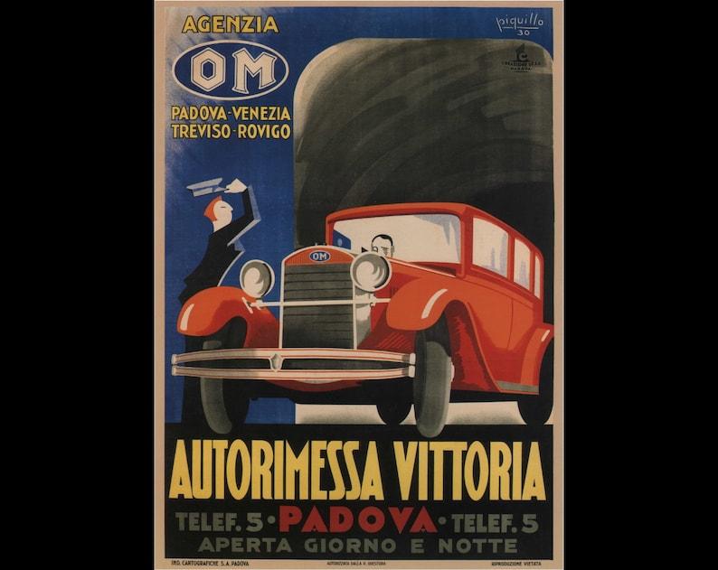 Nostalgia Vintage Print autorimessa vittoria padova piquillo 1930 poster Vintage Reprint Poster Gift Reprint Art