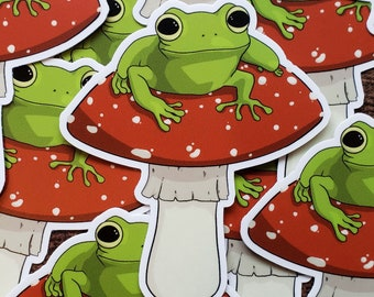 frog sticker frog lover gift mushroom stickers stationary stickers bullet journal stickers Mistake sticker pack notepad stickers