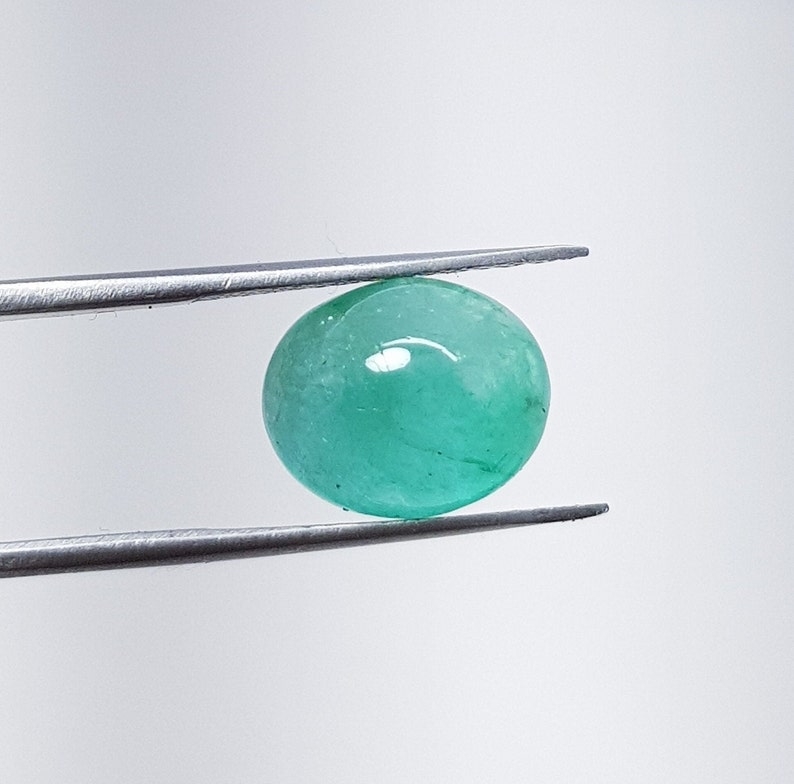5.20 Carat AAA 100/% Natural Emerald Oval Cabochon Beautiful Loose Oval Emerald Gemstone May Birthstone Jewelry Making Tool And Ring