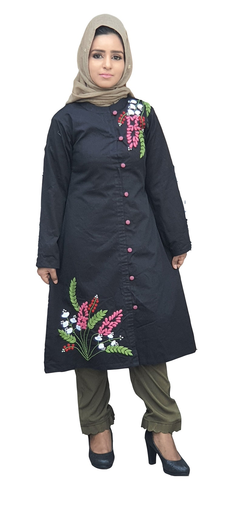 Tunic pants floral embroidered 100/% cotton set.
