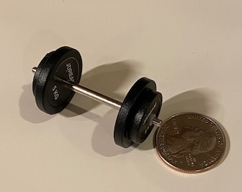 2Pcs 1//12 Dollhouse Miniature Barbell Dumbbells Fitness Weights Gym Model To Nd