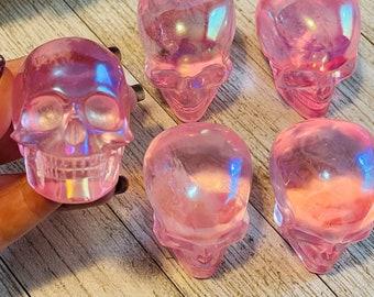 Meditation 265g Rose Aura Quartz Skull Balance Harmony High Vibration