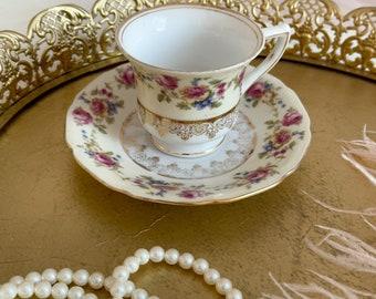 Beautiful Pastel Floral Teacup set/espresso cup set/antique tea pot/online thrift store
