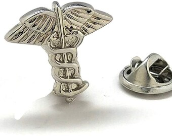 Enamel Pin Medical Caduceus Lapel Pin Silver Tone and Black Enamel Medical Doctors Students Vets  3-D Tie Tack Comes with Gift Box