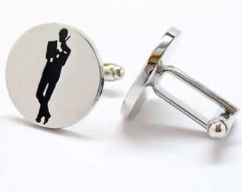 925 Silver Plated James Bond 007 Cufflinks cuff links Tie Clip 3D SLV Movie