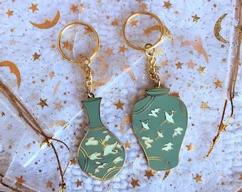 Traditional Korean Ceramics Keychains, Hard Enamel Keychain, Gold Plated, Gift, Couple Set