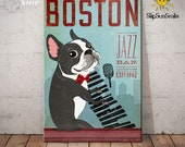 Gift For Boston Terrier Lovers Custom Year Canvas Poster Boston Terrier Jazz Bar Canvas Poster Wall Art For Coffee Shop Bathroom Home Decor