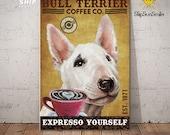 Gift For Bull Terrier Lovers Custom Year Canvas Poster Bull Terrier Dog Lovers Canvas Poster Wall Art For Coffee Shop Bathroom Home Decor