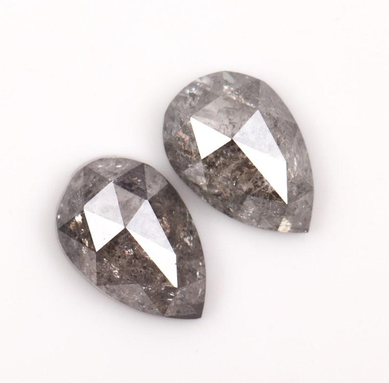 Best Price Diamond Pair 0.46 CT Salt and Pepper Pear Shape Minimal Diamond Pair OM4411 4.6 X 3.1 MM Earrings Jewelry Diamond Pair