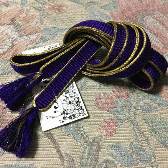 from Japan\u3000 Obi Fastener Kimono Accessory Golden Brown with Gold  Vintage Silk Obijime