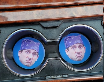 Prison Mike Michael Scott The Office Inspired Car coaster, Car Accessories, Car Decor, Car Coasters, cup holder coaster