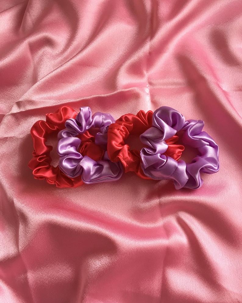 Red Scrunchie Handmade Satin Scrunchie Cheap Scrunchy Scrunchies Rose Hair Accessory Silk ROSE Gift Ideas Satin Fabric
