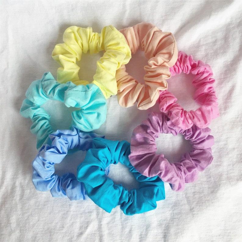 Gift Ideas Pastel Cute Hair Accessories Birthday Fabric Scrunchies Cheap Rainbow Fabric Rainbow Scrunchy Handmade RAINBOW