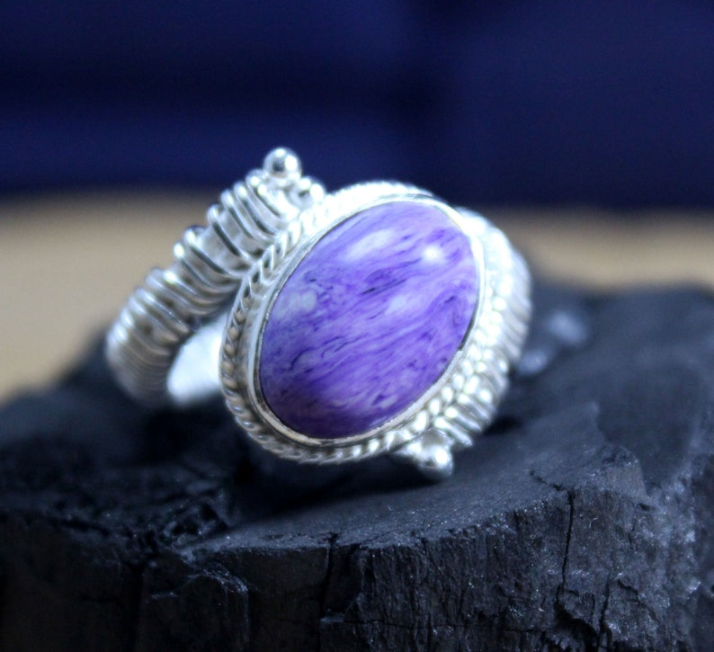 Wedding Ring 925 Silver Ring Charoite Gemstone Ring Partywear Ring Anniversary Ring Engagement Ring Twisted Wire Ring Womens Ring
