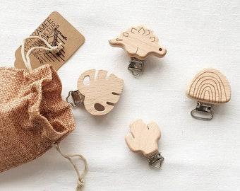 Spar set wooden clips for handmade pacifier chains, monstera, cactus, rainbow or dinosaur