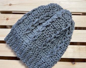 Unisex crocheted hat.  Beautiful grey.  Slouchy beanie. Ladder stitch.  handmade.  Warm and soft