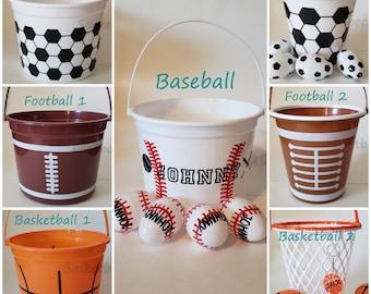 Custom Personalized Name Sports Easter Halloween Baskets ~ Football, Basketball, Soccer, Baseball