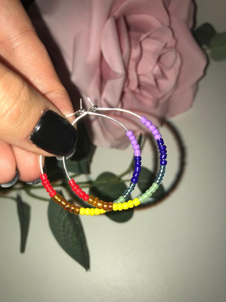 Earrings  beaded  Harry Styles inspired  TPWK  jewellery  Handmade Spring