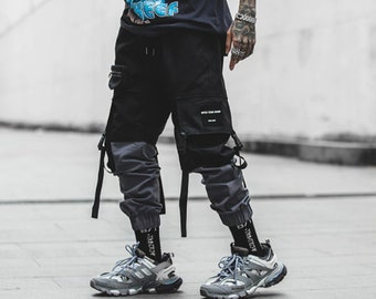 Gray Patchwork  Cargo Pants With Ribbons | Techwear | Streetwear Addition |  Project L