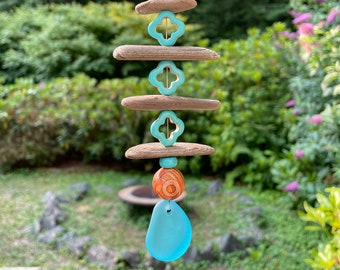 Small Turquoise/driftwood window charm