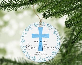Personalized God Bless Christening Ornament, Custom Baptism Ornament, Boy Baptism Gift, Gift for Godson, Christening Gift for Boy