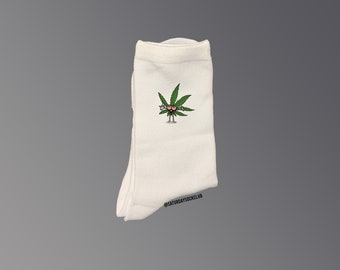 9 High Socks Athletic Cotton Compression Socks Breathable Stockings for Party Work 143 Running Girls Boys High Thigh Socks white-marijuana weed Cannabis leaves