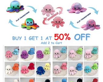 Reversible Octopus Plushie, TikTok Reversible Octopus Plush, Handmade, Cute Flip Soft Toy Gift Happy Angry Display Mood, Perfect For Gifts!