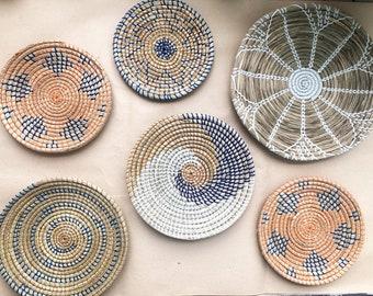Set of 6 Wall Baskets, Set Hanger Wall Plate, Boho Wall Art, Bohemian Decorative Basket, Wicker Wall Tray, Wicker Baskets, Basket Wall Decor