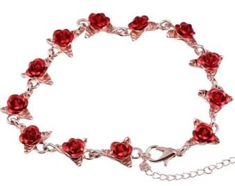 Rose Bracelet White Rose Black Red Silver Plate Bar Bracelet Goth Bracelet Women Girls Prom Mothers Day Gift Idea