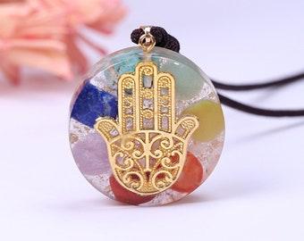 Orgonite\u00ae Pendant ~ Orgone Elite Auryn ~ Elite Shungite Malachite 24k Gold Flake EMF Protection Jewelry 1.65