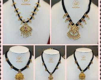 Black thread jewelery,1gm gold jewelery,black thread,pendant necklace,black thread locket,removable  pendant chains,temple jewelery