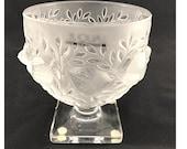 Lalique Crystal, Lalique Bowl, Lalique Footed Pattern 12265 quot Birds in Bush quot Vintage