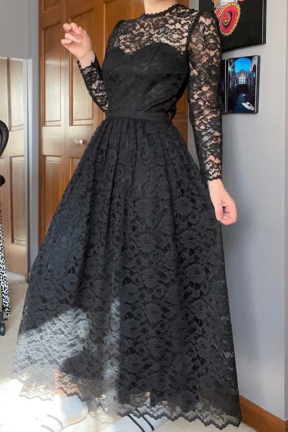 Black Victorian Lace Gunne Sax dress