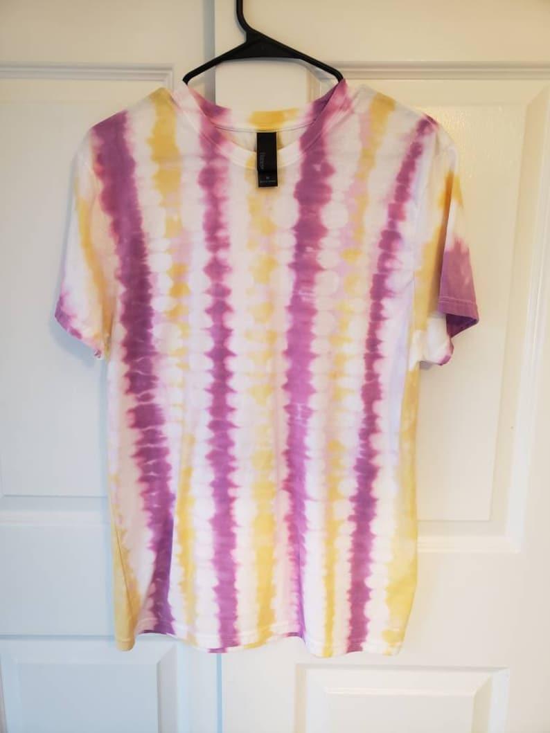 Purple /& Gold Vertical Stripe Tie-Dye Womens LMens XL