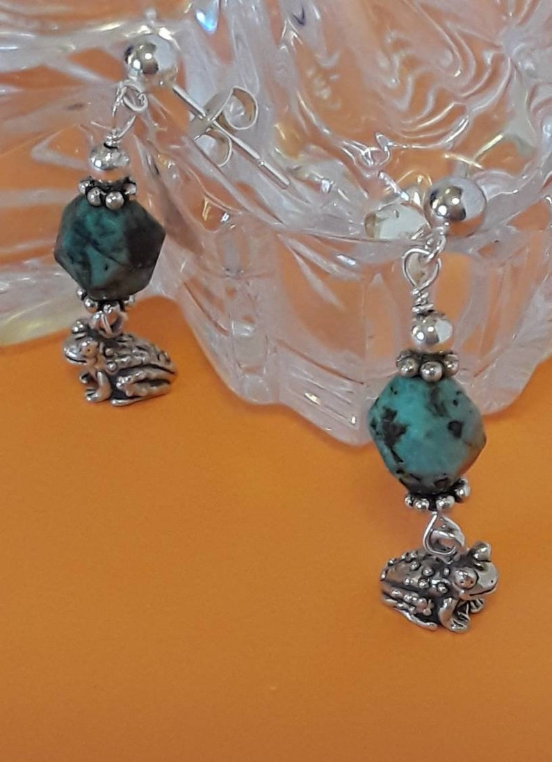 African turquoise earrings. Sterling silver charm earrings African turquoise silver charm earrings Dangle sterling earrings