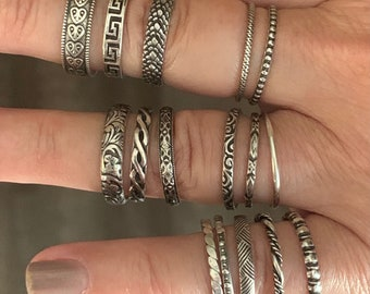 Stackable silver rings, 16 styles, all sizes available
