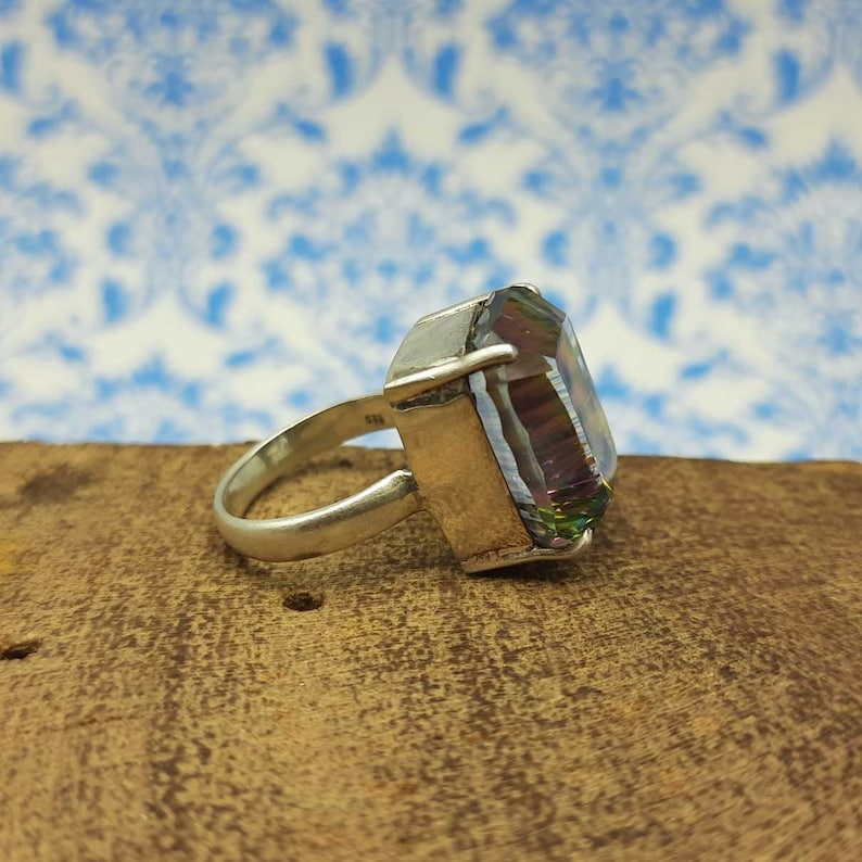 November Birthstone Ring-Claw Setting Ring Mystic Topaz Ring-925 Sterling Silver Ring-Prong Setting Ring-Handmade Jewelry-Multicolor Ring