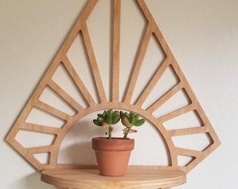 Floating Diamond sunshine Wood wall shelf - wall décor - accent shelf plant shelf crystal display succulent shelf