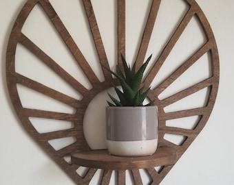 Floating Sun Teardrop shaped wood wall shelf - Accent shelf plant shelf wall décor crystal display shelf