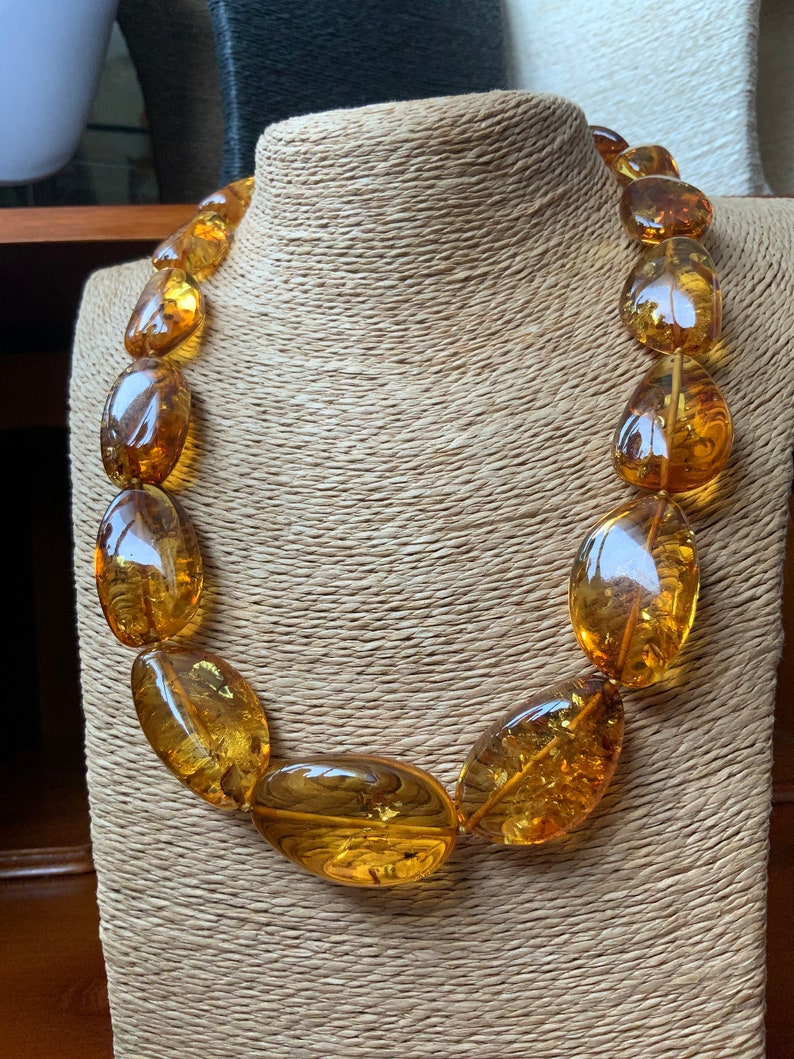 Honey amber big necklace natural Baltic amber fossilized tree resin succinite amber necklace pure beautiful collection item amber necklace