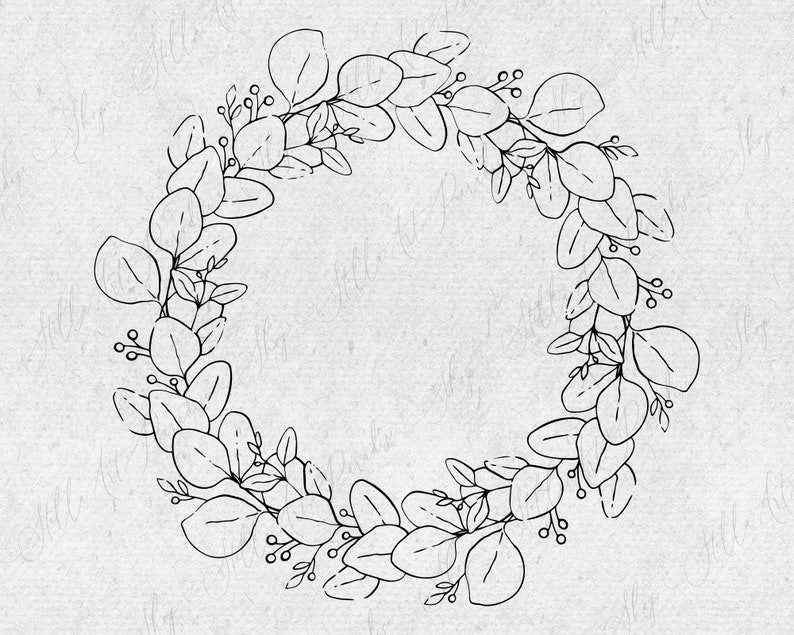 Eucalyptus and berry Wreath svg png dxf Flower Leaves circle wreath vector clipart Cut File branch border simple wedding clip art wedding